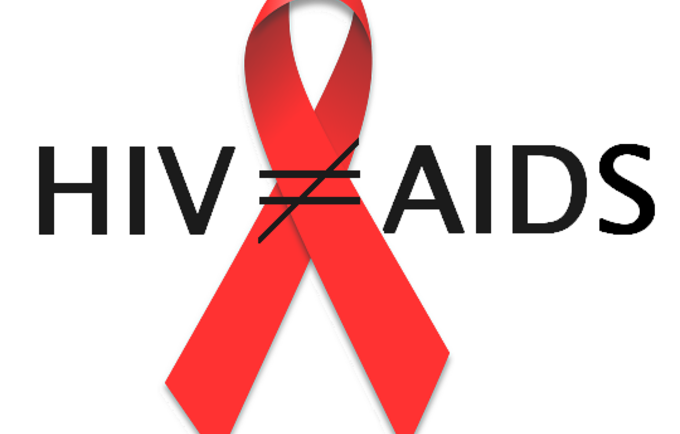 Image with red ribbon and HIV does not equal to Aids
