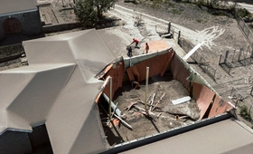 Picture of a collapsed roof caused by the deposition of volcanic ash following the eruption of the La Soufriere volcano in St. Vincent and the Grenadines